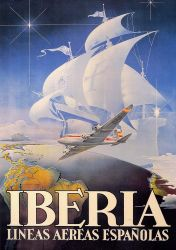 Cartel Aviacion: Iberia Caravela