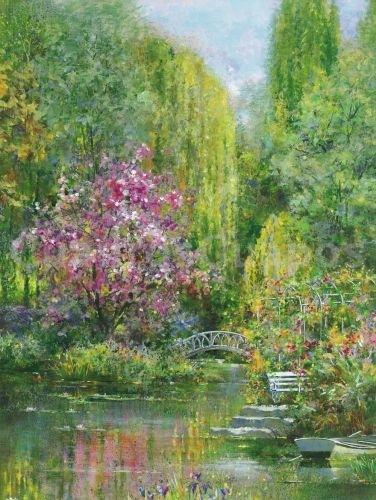 Andrea fontana jardin de primavera paisaje vertical for Cuadros verticales grandes