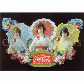 Coca cola cartel publicitario antiguo con sombrillas - Carteles publicitarios originales ...