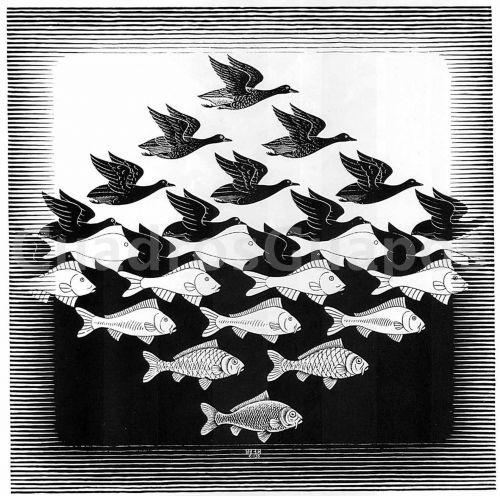 Escher peces y pajaros for Cuadros de peces