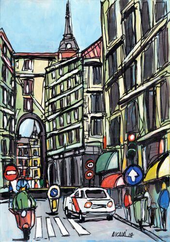 Lamina de madrid calle toledo con vespa autor alcala - Laminas y posters madrid ...