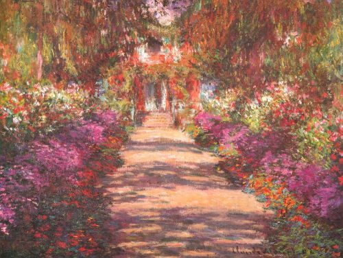 Lamina De Monet Jardin Con Flores En Primavera