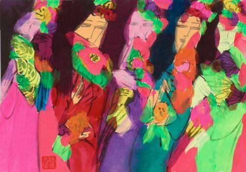 Walasse ting cuadro abstracto colores vivos beauties ii - Cuadros colores vivos ...