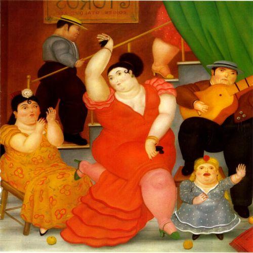 cuadro de botero tablao flamenco y gitana bailando