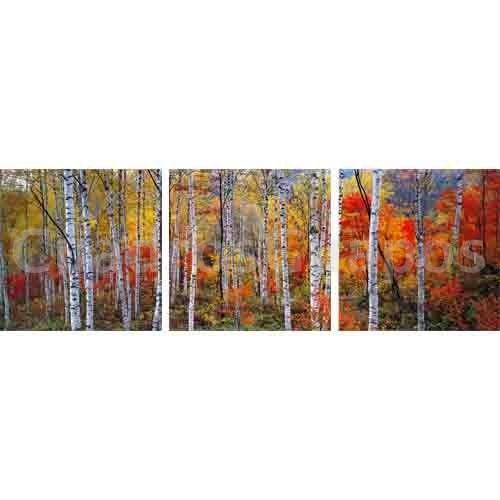 Bosque rojo paisaje mural triptico for Cuadros decorativos baratos precio