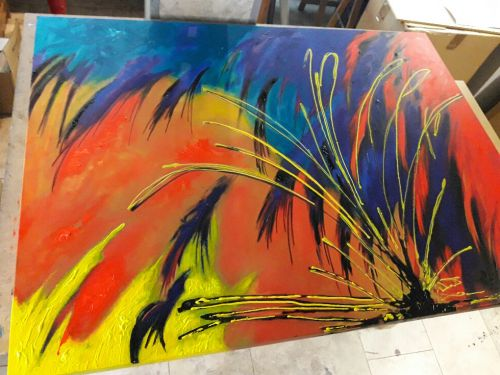 Cuadros abstractos grandes pintados a mano for Comprar cuadros grandes baratos