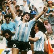 Football, Maradona celebrating Mexico 86 World Cup