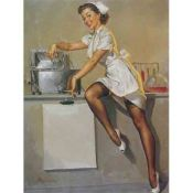 Gil Elvgren, girl in the laboratory, Pin Up