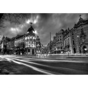 Alcala con Gran Via at night, Madrid