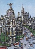Lamina. Jose Alcala, driving on Gran Via, Madrid